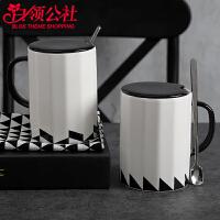 白领公社 陶瓷杯 男创意简约带盖带勺子办公室家用文艺茶杯耐热大容量咖啡杯马克杯水杯水具