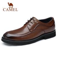camel骆驼男鞋 秋季新款男士商务正装皮鞋牛皮柔韧系带真皮皮鞋