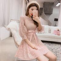 春装新款韩版淑女气质吊带裙两件套裙子百搭显瘦蕾丝连衣裙女