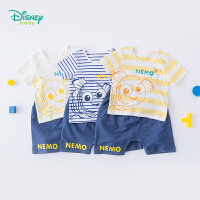迪士尼Disney童装 男童条纹肩开短袖套装夏季新品儿童尼莫印花t恤短裤192T887