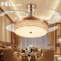 佛山照明隐形风扇灯吊扇灯餐厅客厅家用卧室电风扇的欧式水晶吊灯
