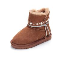 亲子雪地靴母女冬季防水真皮短靴2018新款儿童母子母女鞋保暖棉靴