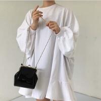 漆皮女包手提包夹子新款复古链条包简约斜挎小包 黑色亮面