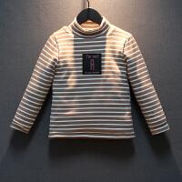 男童打底衫加绒加厚冬装卫衣儿童条纹上衣洋气高领童装潮 藕色