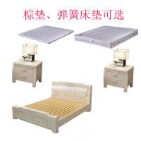 白色实木床橡木1.8米主卧室新中式双人高箱储物大床1.5米公主婚床 +2床头柜 1800mm*2000mm 箱框结构