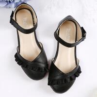 女童皮鞋凉鞋新款韩版平底中大童小女孩黑色公主鞋儿童单鞋女