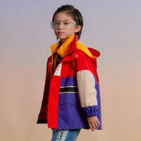 【1件4折价:159.6】moomoo童装男童外套春秋装新款儿童摇粒绒冲锋衣两件套厚款拼接