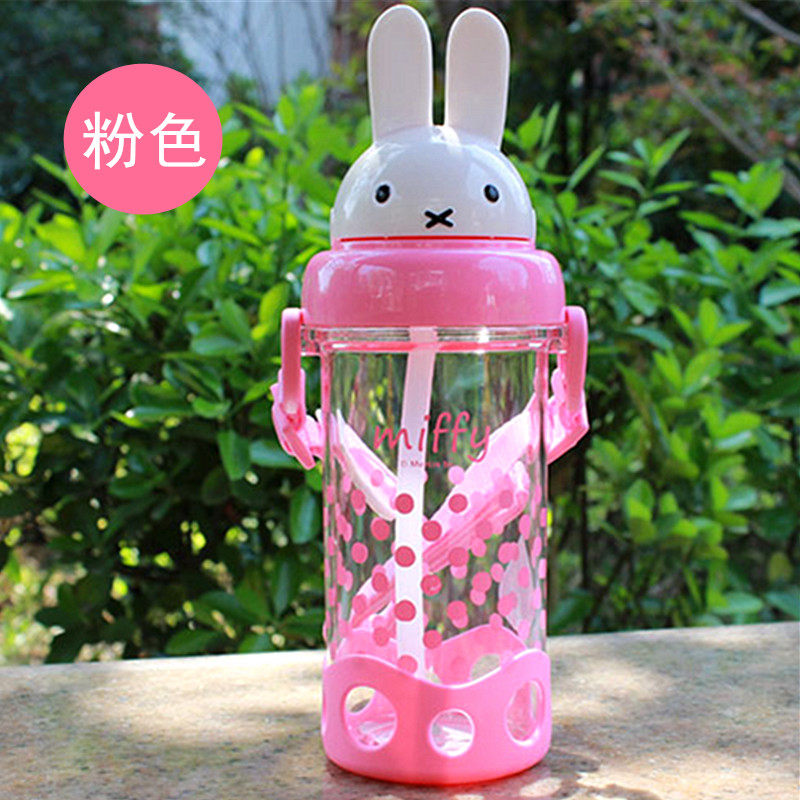 米菲儿童吸管杯水杯 防漏喝水杯女宝宝背带水壶卡通 学生杯子a232