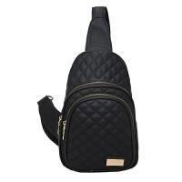 新款女士胸包女包斜跨包欧美时尚潮流胸前包休闲小包户外背包 黑色