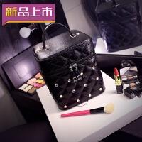 2018化妆包小号便携韩国简约少女心品收纳包大容量多功能化妆箱盒手提 黑色 方箱大号