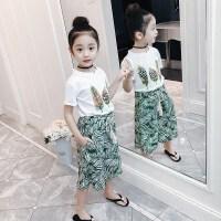 女童夏装新款套装洋气童装中大童韩版短袖夏季阔腿裤两件套潮