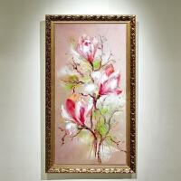 玄关装饰画竖版客厅走廊过道挂画现代简约壁画立体花卉油画玉兰花