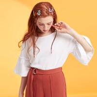 【1件3折到手价:35.7】美特斯邦威ins短袖T恤女2019夏装新款宽松甜美荷叶袖上衣百搭短袖