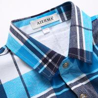 中年衬衫男装 商务短袖衬衫父亲装双丝光棉棉中老年衬衫爸爸装