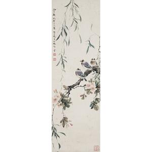 G1897  颜伯龙 《花鸟》(北京文物公司旧藏、原装旧裱、满斑)
