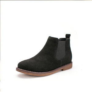 如熙秋冬季新款真牛皮女靴子圆头短靴平底切尔西靴短筒女鞋