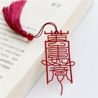 「万事如意」中国风中国红精密外事礼品定制原创书签 不锈钢书签