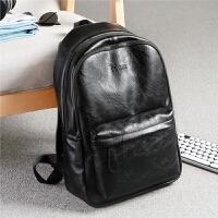 男士双肩包休闲旅行背包包韩版电脑皮包大容量潮流商务包学生书包