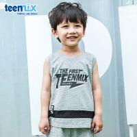 天美意teenmix童装儿童圆领T恤2018春季新款男童休闲时尚短袖运动服 CZ0173