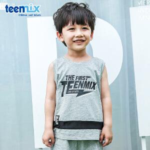 【清仓特惠】天美意teenmix童装儿童圆领T恤2018春季新款男童休闲时尚短袖运动服 CZ0173