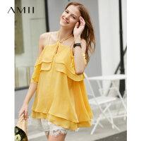 【折后价:154元】Amii极简仙气时尚气质雪纺衫女2019夏季新款露背绑带荷叶边吊带衫