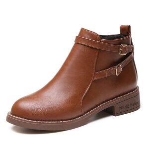 WARORWAR新品YM84-206-1四季休闲低跟鞋舒适女士靴子马丁靴短靴