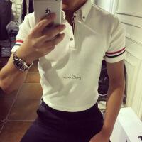 夏季欧美英伦男士修身保罗衫短袖TB风三色织带轻薄polo衫潮纯棉T
