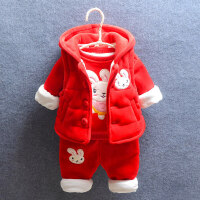 冬季1-2-3-4岁女童加厚卡通儿童卫衣套装女宝宝冬装三件套潮