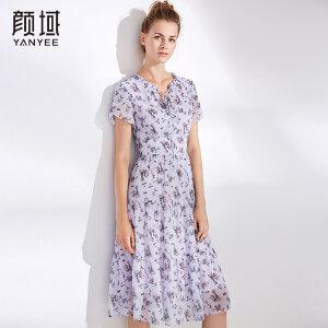 颜域女士2018夏装新款荷叶领短袖收腰显瘦中长款碎花雪纺连衣裙女