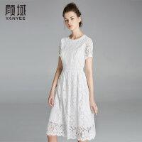 颜域品牌女装2018夏季装新款优雅小清新收腰蕾丝简约白色连衣裙