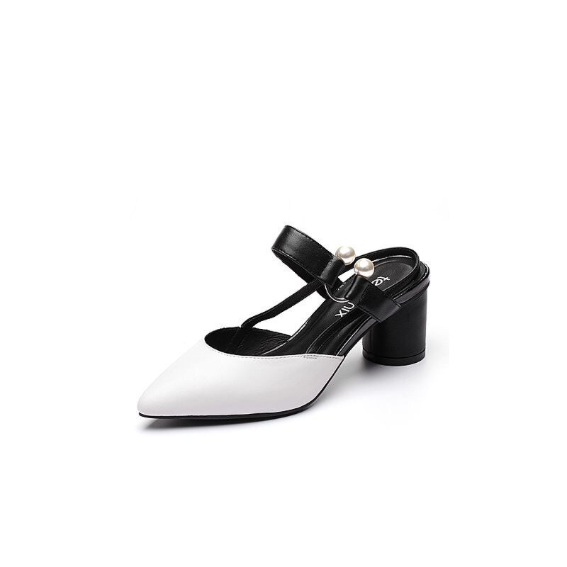Teenmix/天美意夏专柜同款羊皮珠饰粗高跟后空女凉鞋AP571BH7
