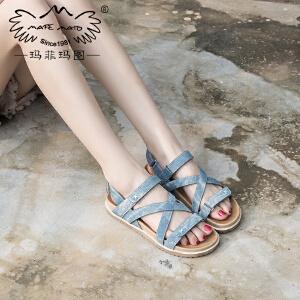 玛菲玛图夏新款软底魔术贴凉鞋女夏学院风厚底鞋简约百搭平底罗马凉鞋M198180832T13