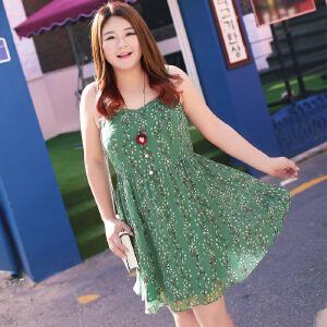 MsShe加大码女装2017新款胖妹妹收腰印花雪纺吊带裙M1730029