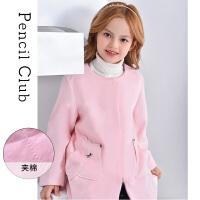 【3件价:119.7元】铅笔俱乐部童装2019冬季新款女童纯色大衣中大童呢子外套儿童棉衣