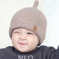 韩国秋冬季新生儿童帽女宝宝毛线帽子男童0一1岁婴儿冬天针织帽潮 均码