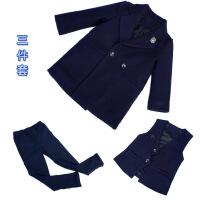 儿童男童西装套装2018新款韩版英伦男宝男宝宝冬装三件套加厚毛呢 藏蓝色(风衣+马夹+裤子) 加厚三件套