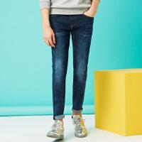 美特斯邦威旗下 4M牛仔长裤男士春季新品男超弹精致绣花五袋洗水牛仔长裤