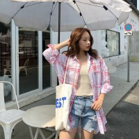 薄款防晒衣女中长款2018夏季新品韩版学生宽松bf格子衬衫百搭外套