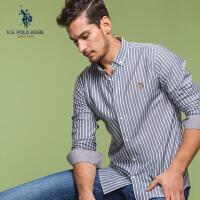 U.S. POLO ASSN.男士衬衫纯棉条纹修身商务休闲衬衫2018春季新款