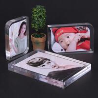 双面水晶亚克力摆台卡磁铁价格标签牌5 6 78寸透明照片结婚照相框