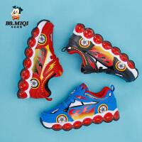 开心米奇童鞋男童闪灯鞋春季新款卡通革面小童发光儿童时尚运动鞋