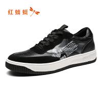 红蜻蜓男鞋运动休闲鞋秋冬季新款圆头低跟男单鞋系带