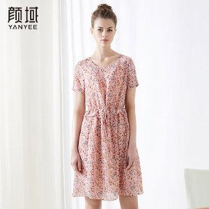 颜域2018夏装新款宽松短袖荷叶系带收腰碎花裙中长款粉色连衣裙女