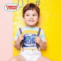 【8.20每满100减50】托马斯正版童装男童夏装2018夏季新款全棉短袖圆领条纹T恤上衣