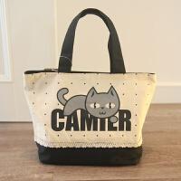 可爱清新条纹波点小帆布包 饭盒袋 帆布便当包手提包妈咪包 黑色 蕾丝字母猫