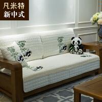 新中式沙发垫实木坐垫布艺四季通用定做客厅123组合三件套装