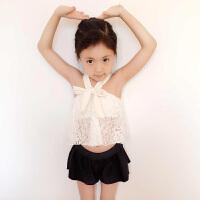 韩版儿童泳衣女童平角分体裙式比基尼三件套中小童婴幼儿走秀泳装