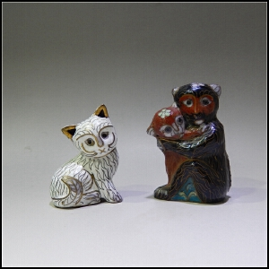 二十世纪80年代 铜胎掐丝珐琅 动物摆件一组