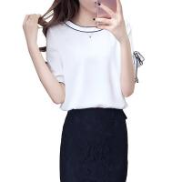 雪纺衫女夏季女装百搭韩版宽松小衫上衣短袖蝴蝶结娃娃衫白色上衣 白色