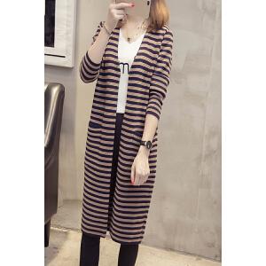 2018新款韩版长款口袋条纹开衫针织衫毛衣女秋季女装百搭外套潮